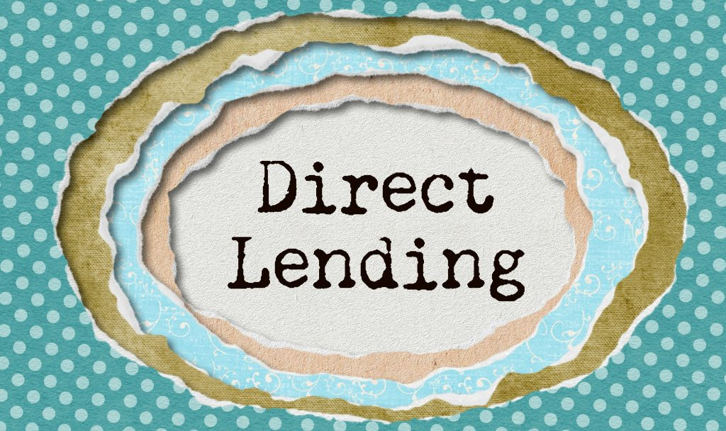 "Typewritten word ""Direct Lenders"" in ragged paper"
